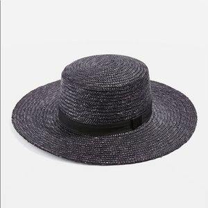 NEW! Topshop black straw boater hat wide brim